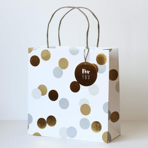 Large White gift bag with silver & gold polka dots