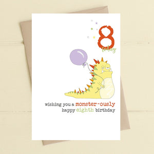 Monster-ously Happy Birthday - Age 8 Boys Greetings Card