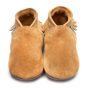 Moccasin Tan Suede Handmade Baby Shoes