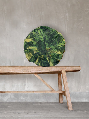 Palms Velvet Round Cushion