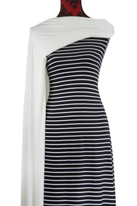 Black and Ivory Stripes - $17.50 pm - Double Brushed Poly