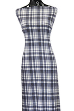 Load image into Gallery viewer, Blue & White Plaid - $17.50 pm - Poly Rayon Spandex