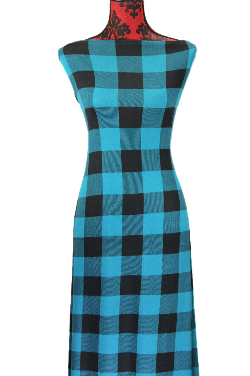 Teal Buffalo Plaid -  $19.00 per metre - Hachi Sweater Knit