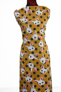 Bunnies in Mustard - $16.50 PM - Brushed Cotton Woven