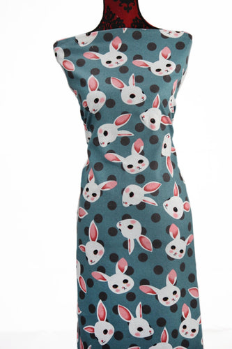 Bunnies in Teal - $16.50 PM - Brushed Cotton Woven