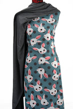 Load image into Gallery viewer, Bunnies in Teal - $16.50 PM - Brushed Cotton Woven