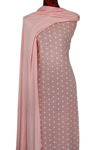 Pink Crosses 100% Cotton (Knit) -  $18.50 per metre