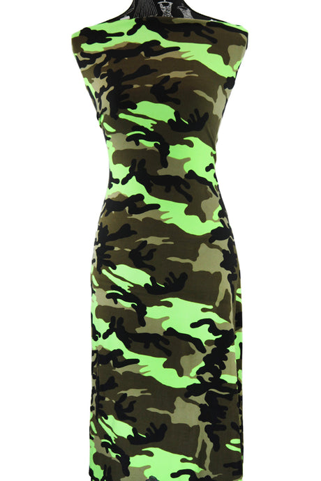 Camo in Neon Green - $17.50 pm - Double Brushed Poly