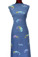 Load image into Gallery viewer, Chameleons in Blue - $18.50 per metre