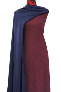 Burgundy & Navy Stripes-   $17.50 pm - 180gsm Cotton Spandex