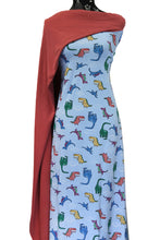 Load image into Gallery viewer, Dino Land in Blue - $19.00 per metre - Cotton Spandex