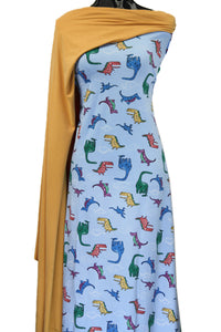 Dino Land in Blue - $19.00 per metre - Cotton Spandex