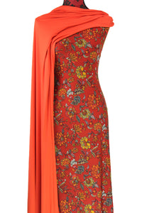 Flora Tapestry in Burnt Orange - $17.50 pm - Double Brushed Poly