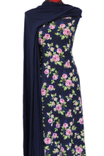 Load image into Gallery viewer, Flower Bomb in Navy - $17.50 pm - Double Brushed Poly