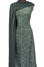 Load image into Gallery viewer, Geometrix in Green - Cotton Spandex - $18.50 per metre