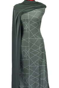 Geometrix in Green - Cotton Spandex - $18.50 per metre
