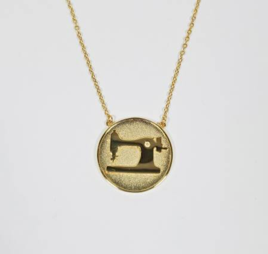 Coin Sewing Machine Necklace - Gold
