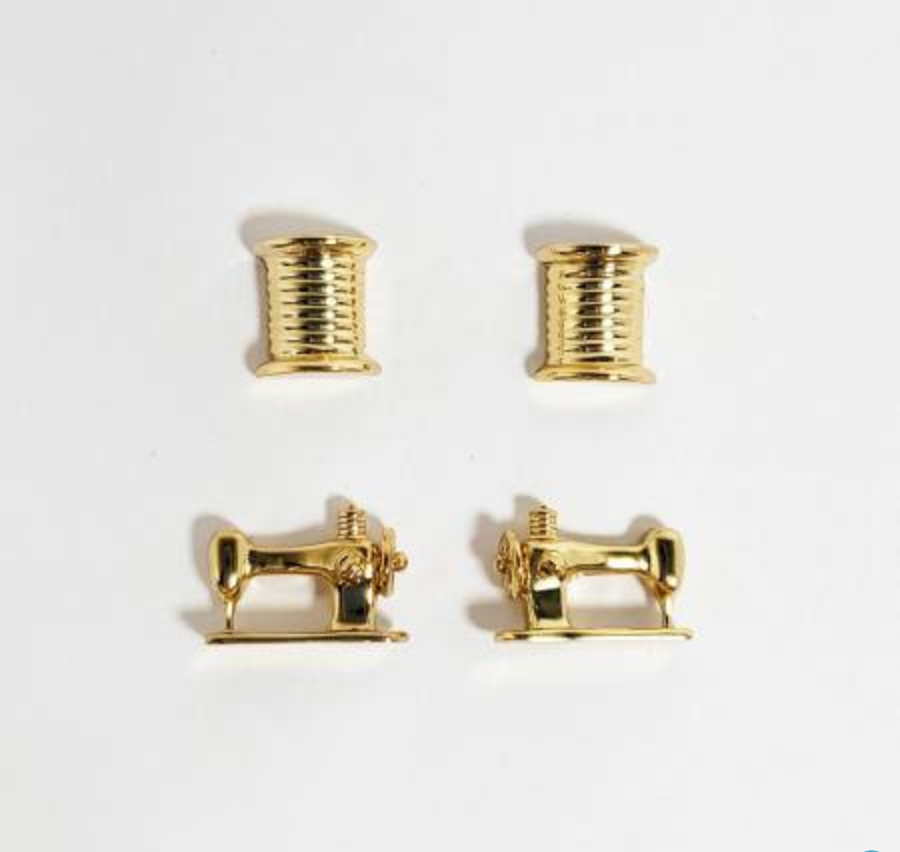 Thread and Machine Set of 2 Earrings - Gold