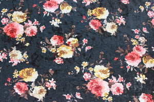 Grace in Black - $13.50pm CLEARANCE - $18.50 per metre - Crushed Velvet