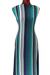 Green and Navy Stripes - $17.50 pm - Double Brushed Poly