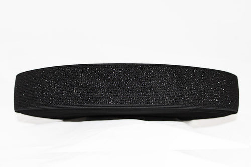 Black with Black Sparkle 50mm wide Exposed Elastic - $5.60 per metre