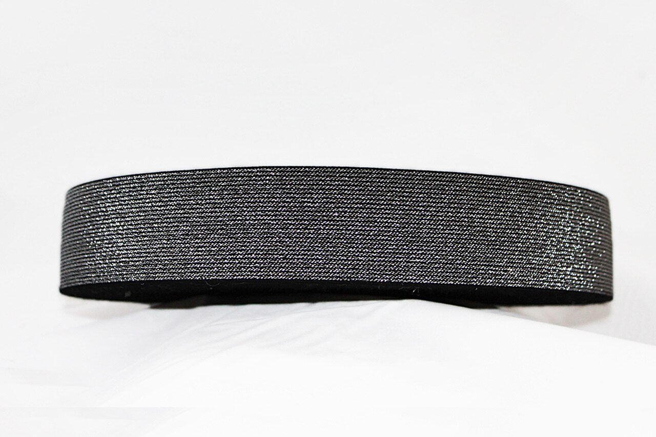 Black with Silver Sparkle 50mm wide Exposed Elastic - $5.60 per metre