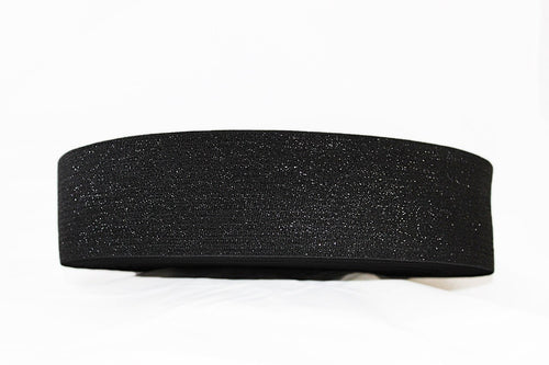 Black with Black Sparkle 73mm wide Exposed Elastic - $6.40 per metre