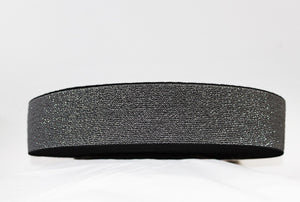 Black with Silver Sparkle 60mm wide Exposed Elastic - $6.00 per metre