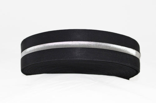 Black with Silver Stripe 50mm wide Exposed Elastic - $6.00 per metre
