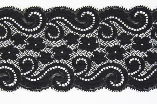 Black Lace 90mm Stretch Trim - $7.00 per metre