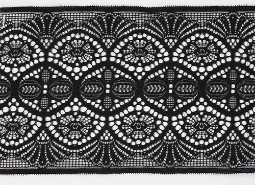 Black Lace 135mm Stretch Trim - $7.60 per metre