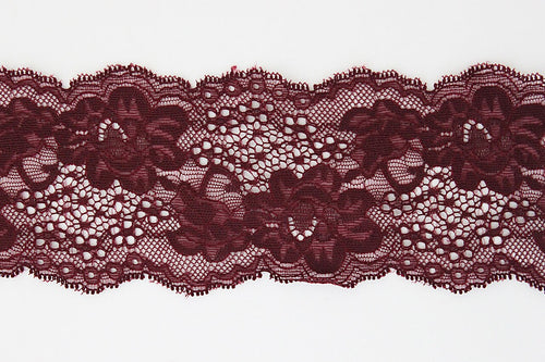 Burgundy Lace 75mm Stretch Trim - $6.60 per metre