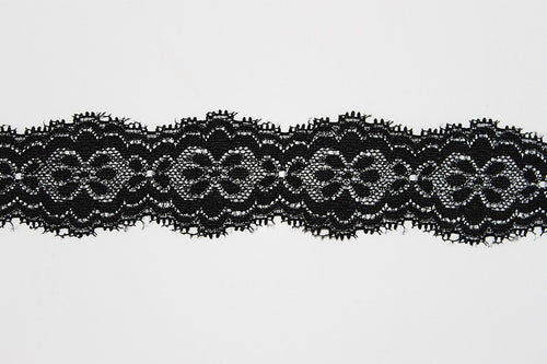 Black & Silver Lace 40mm Stretch Trim - $5.60 per metre