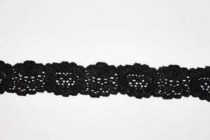Black Lace 30mm Stretch Trim - $4.60 per metre