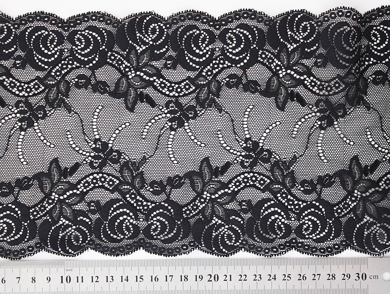 Black Lace 165mm Stretch Trim - $8.00 per metre