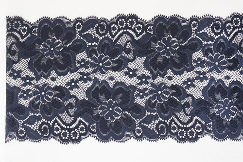 Navy Lace 150mm Stretch Trim - $8.00 per metre