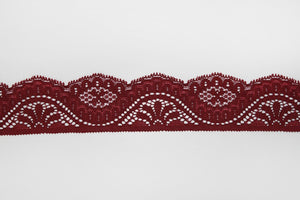 Burgundy Lace 45mm Stretch Trim - $6.00 per metre