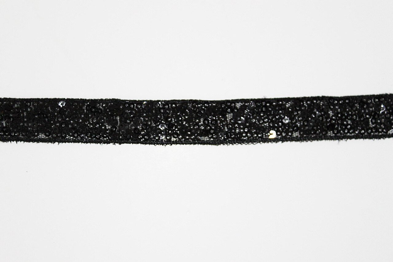 Black Sequin 20mm Trim - $5.00 per metre