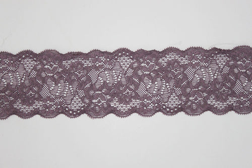 Mauve Lace 60mm Stretch Trim - $6.40 per metre
