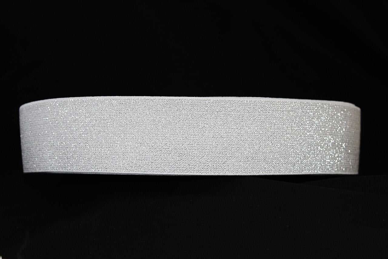 White with Silver Sparkle 60mm wide Exposed Elastic - $6.00 per metre