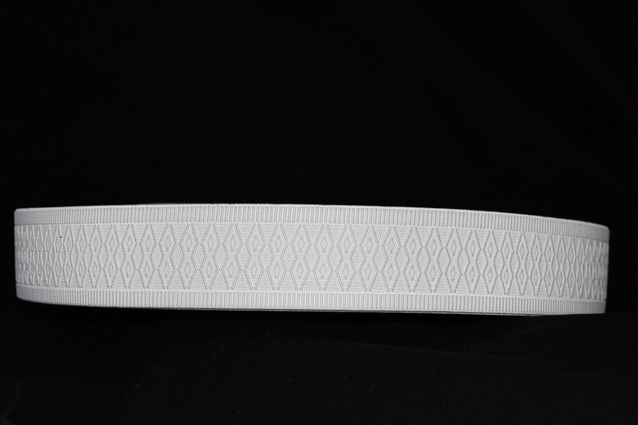 White Embossed 50mm wide Exposed Elastic - $6.00 per metre
