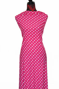 Hot Pink Polka Dots -   $17.50 per metre - single brushed poly