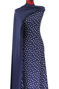 Irregular Dots in Navy - $17.50 pm - Double Brushed Poly