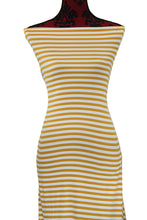 Load image into Gallery viewer, Mustard and Ivory Stripes -$17.50 pm - Double Brushed Poly