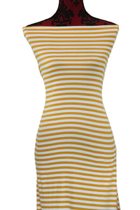 Mustard and Ivory Stripes -$17.50 pm - Double Brushed Poly