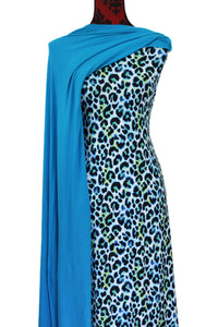 Leopard in Blue - $17.50 pm - Double Brushed Poly