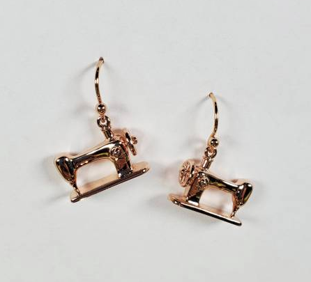Sewing Machine Drop Earrings - Rose Gold