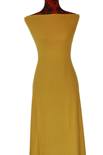 Honey Mustard Brushed Waffle Knit - $20.00 per metre