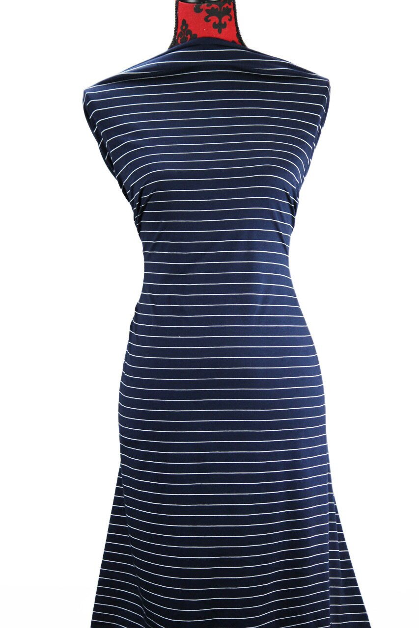 Navy & White Stripes - $17.50 pm - 180gsm Cotton Spandex