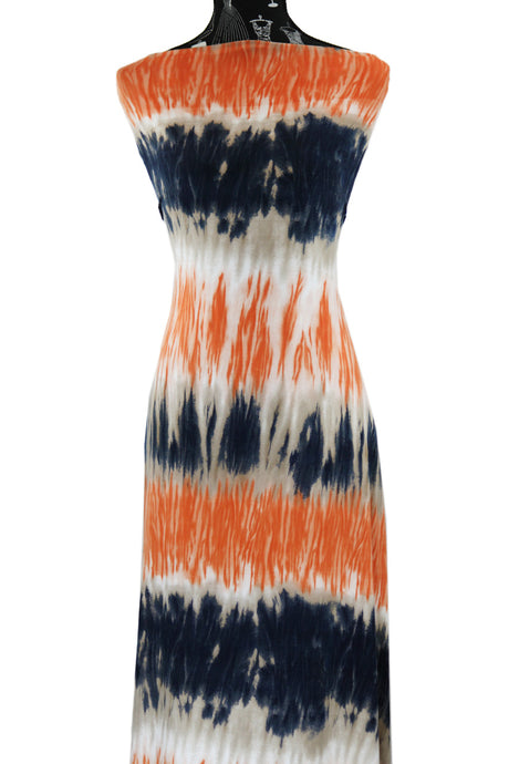 Navy and Orange Tie Dye - $17.50 pm - Double Brushed Poly